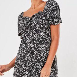 Black Milkmaid Tie Bust Mini Dress